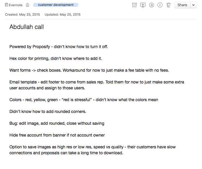 customer call notes example