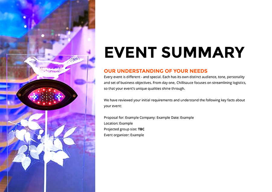 event proposal summary design example