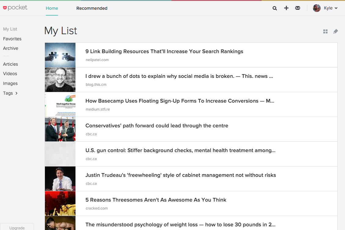 a list of articles on a pocket account