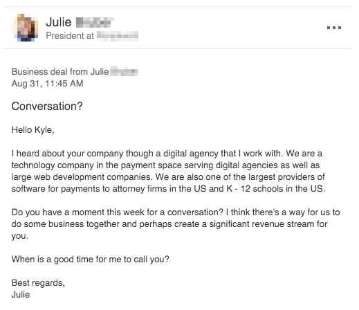 an email of a bad email to prospect