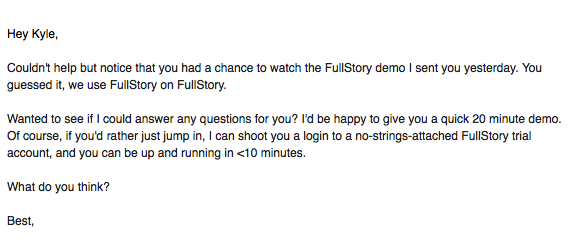 follow-up email from fullstory