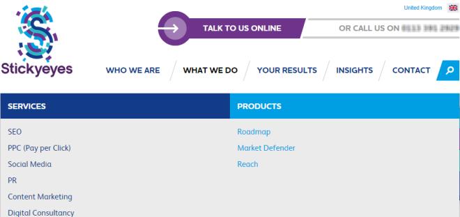 stickyeyes's contact website CTA