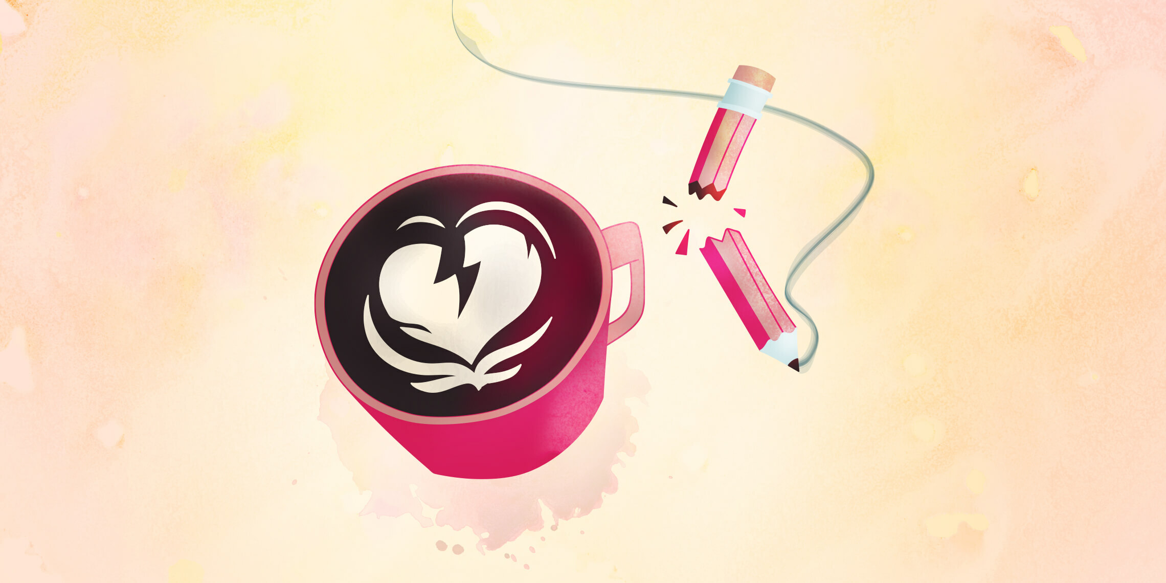 broken hearted coffee cup and pencil representing bad client relationships