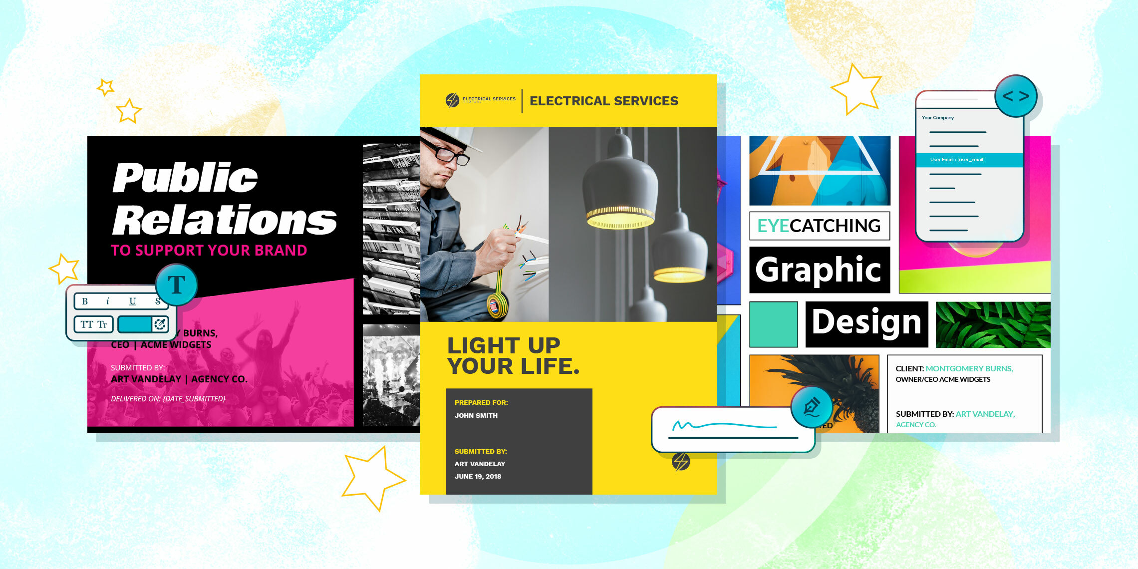 business proposal templates for public relations, interior design and graphic design