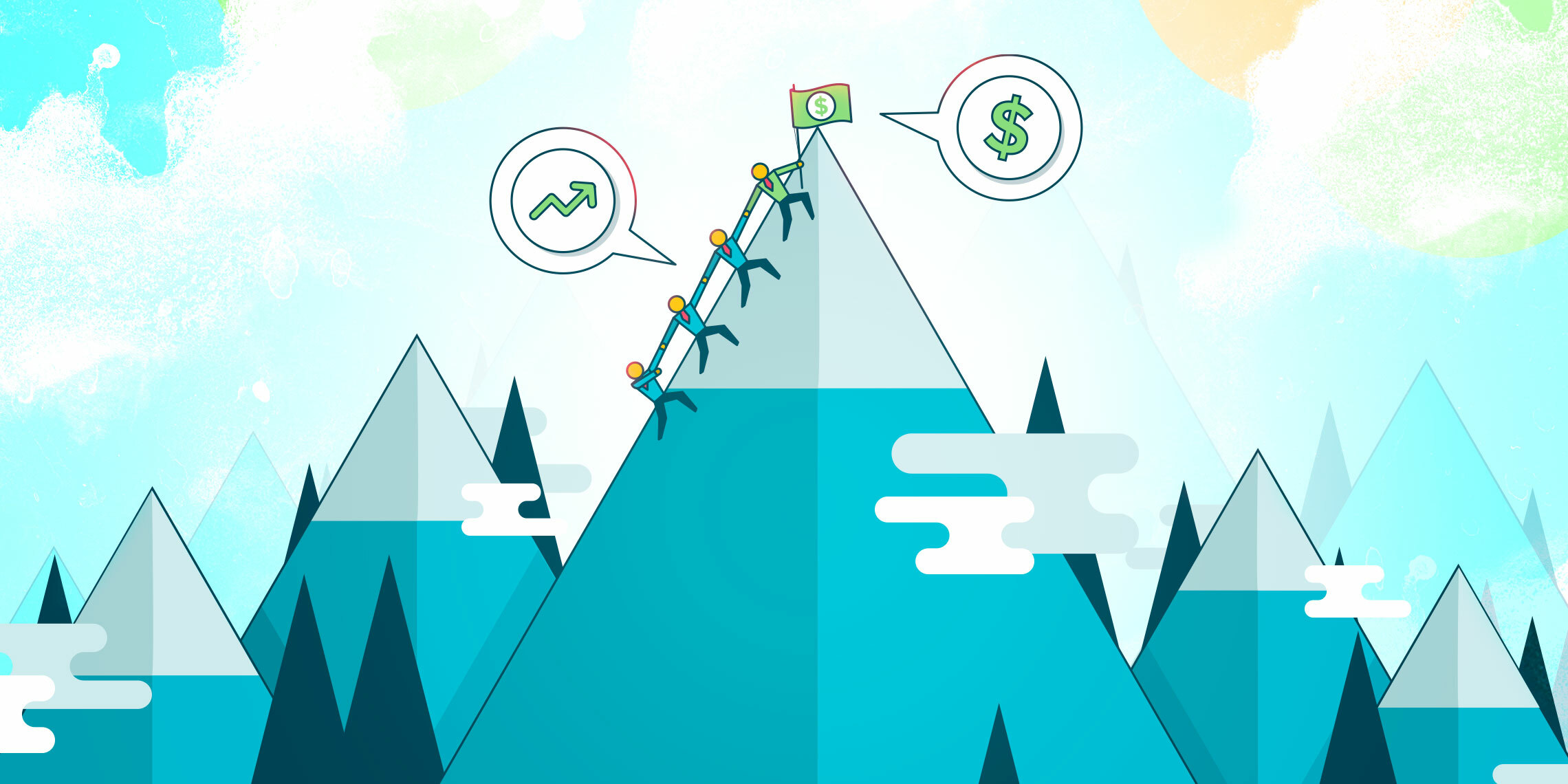 sales leaders getting to the top of a mountain after a sales slump