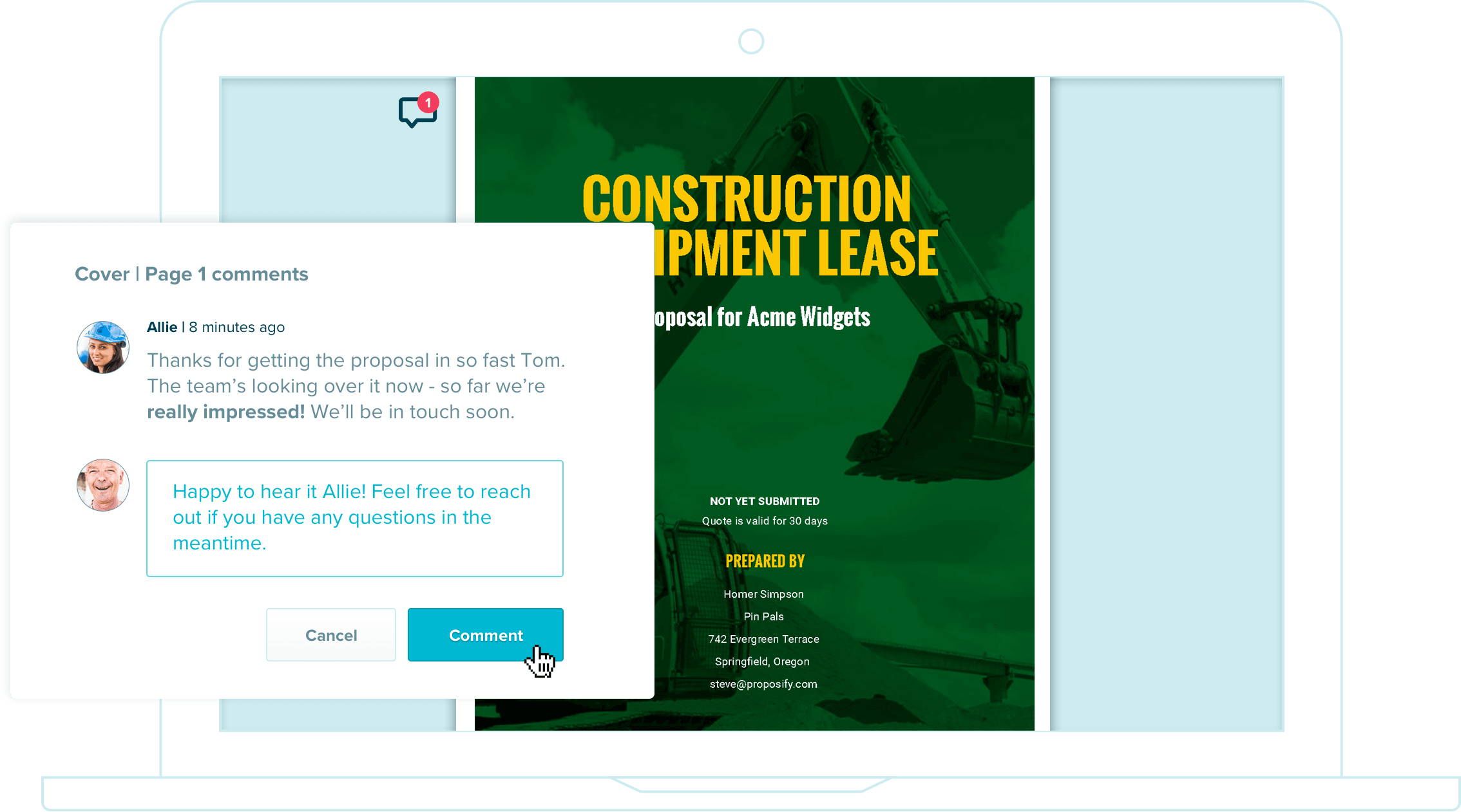 deliver an excellent construction proposal experience