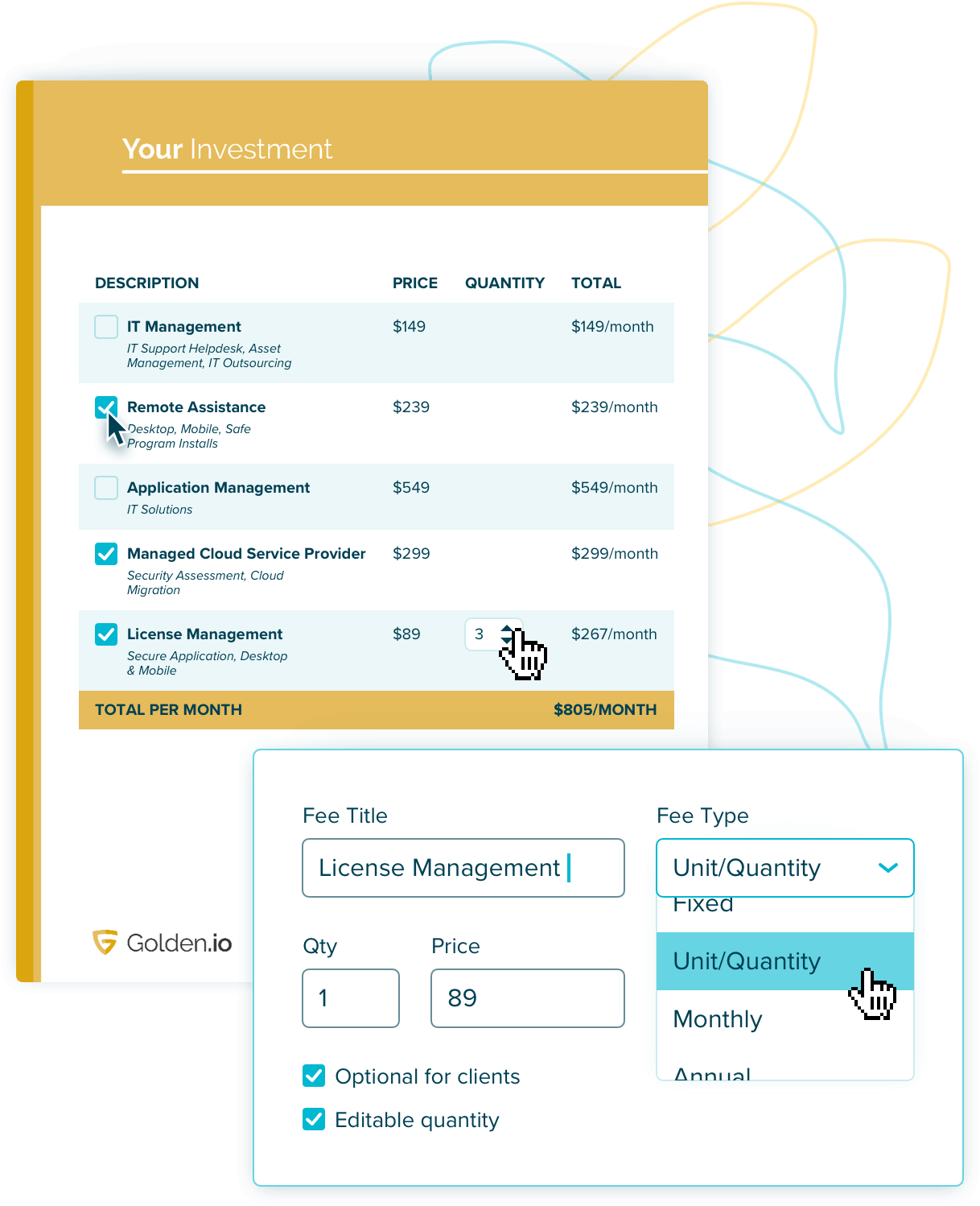proposal pricing tables with optional fees and discounts