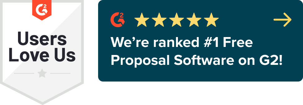 Proposify ranked the number one free proposal software on G2 Crowd