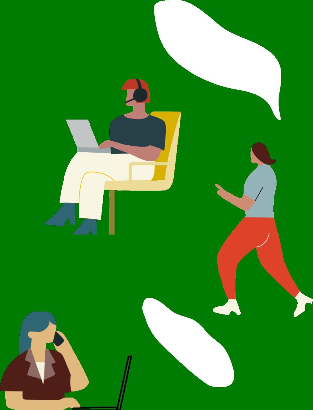 Illustration of team collaborating sending impressive proposals