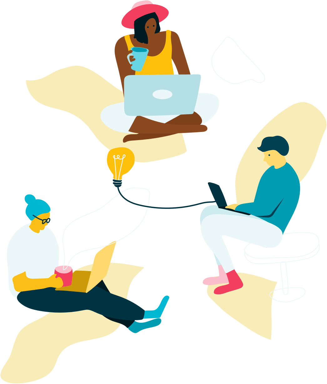 Illustration of creative marketing team