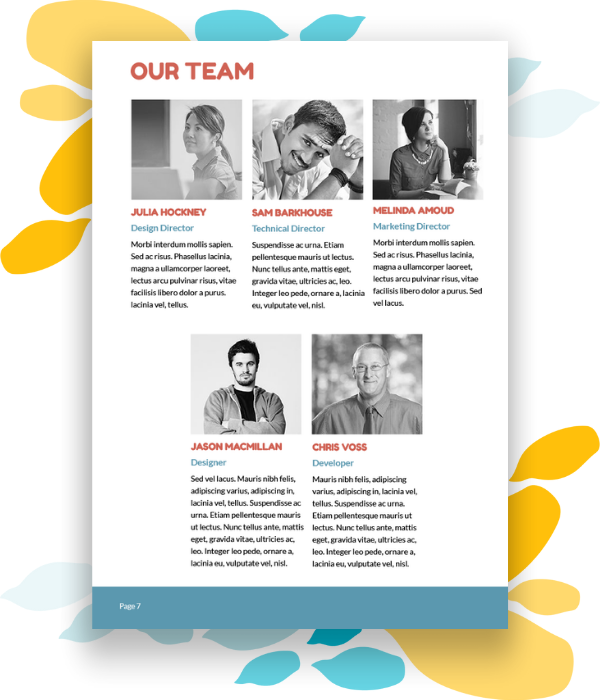 Sample about us or team page for a web design pitch.