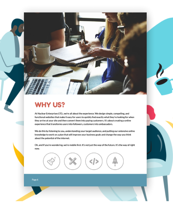 """Example approach or solution or """"why us"""" page for a web design proposal."""