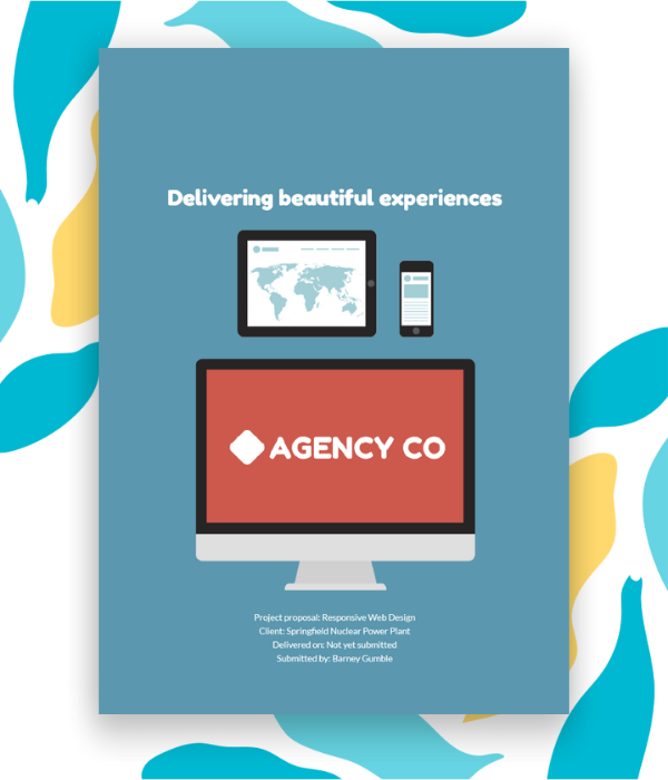 Sample cover page for a website design proposal.