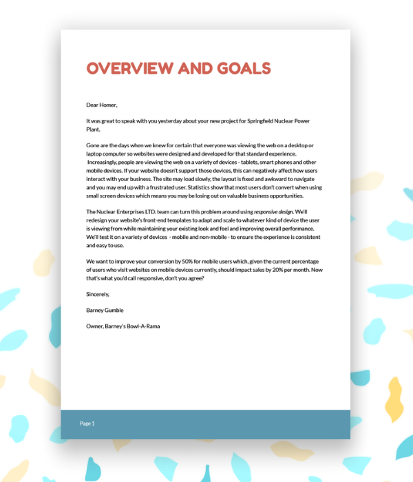 Example executive summary or cover letter for a web design proposal template.