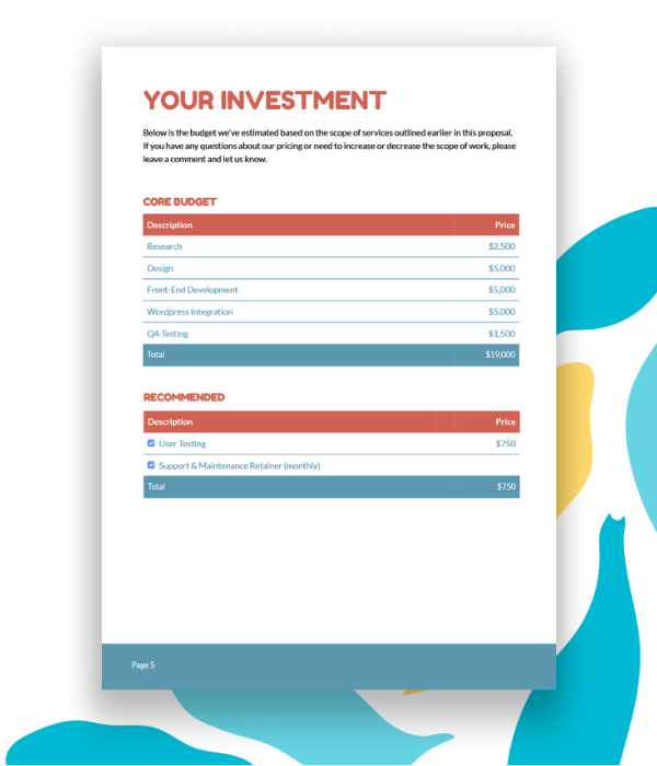 Example pricing page for a web design proposal.