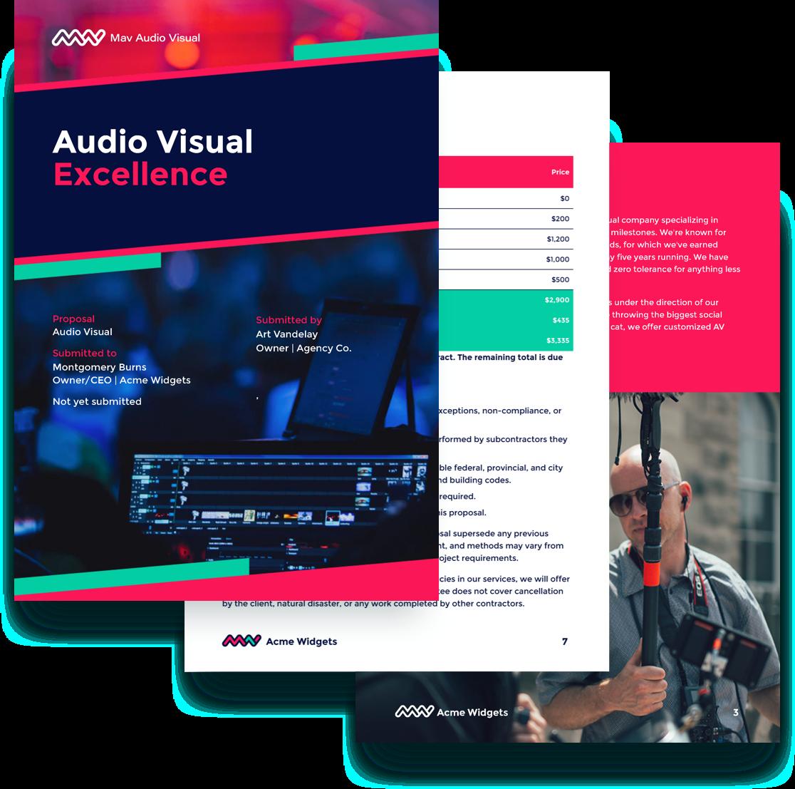 free audio visual proposal template