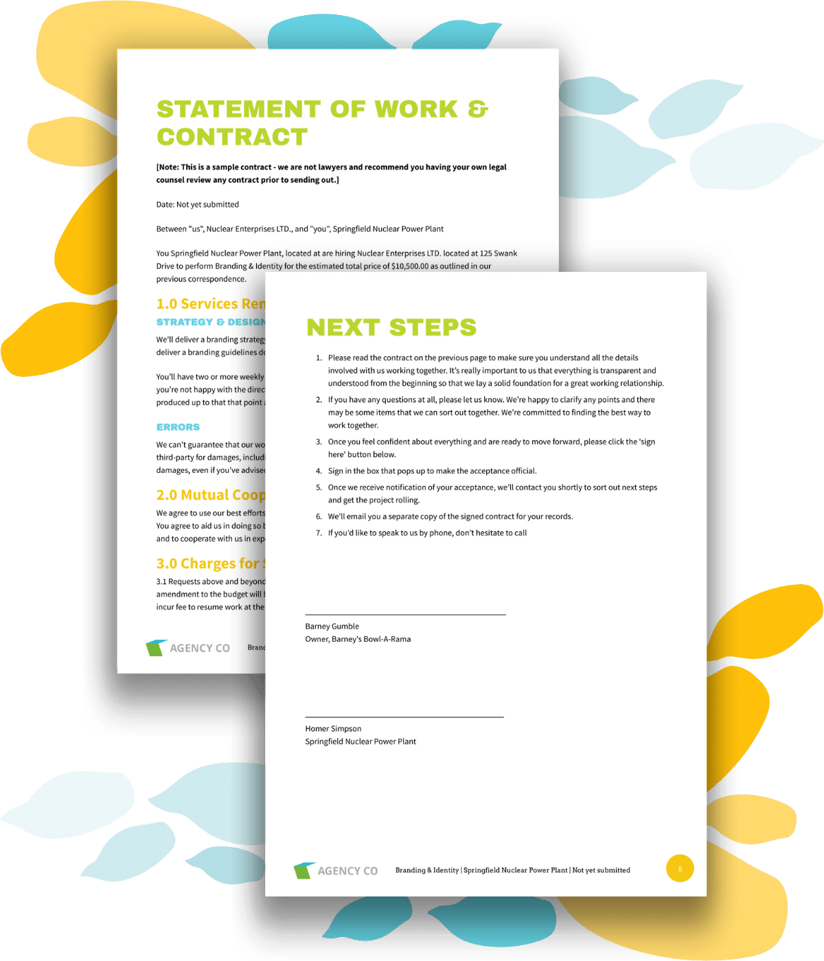 contract and signature page for branding proposal template
