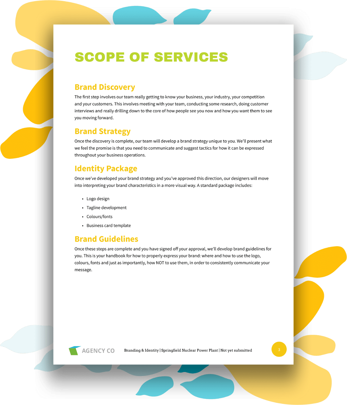 scope of services page for branding proposal template