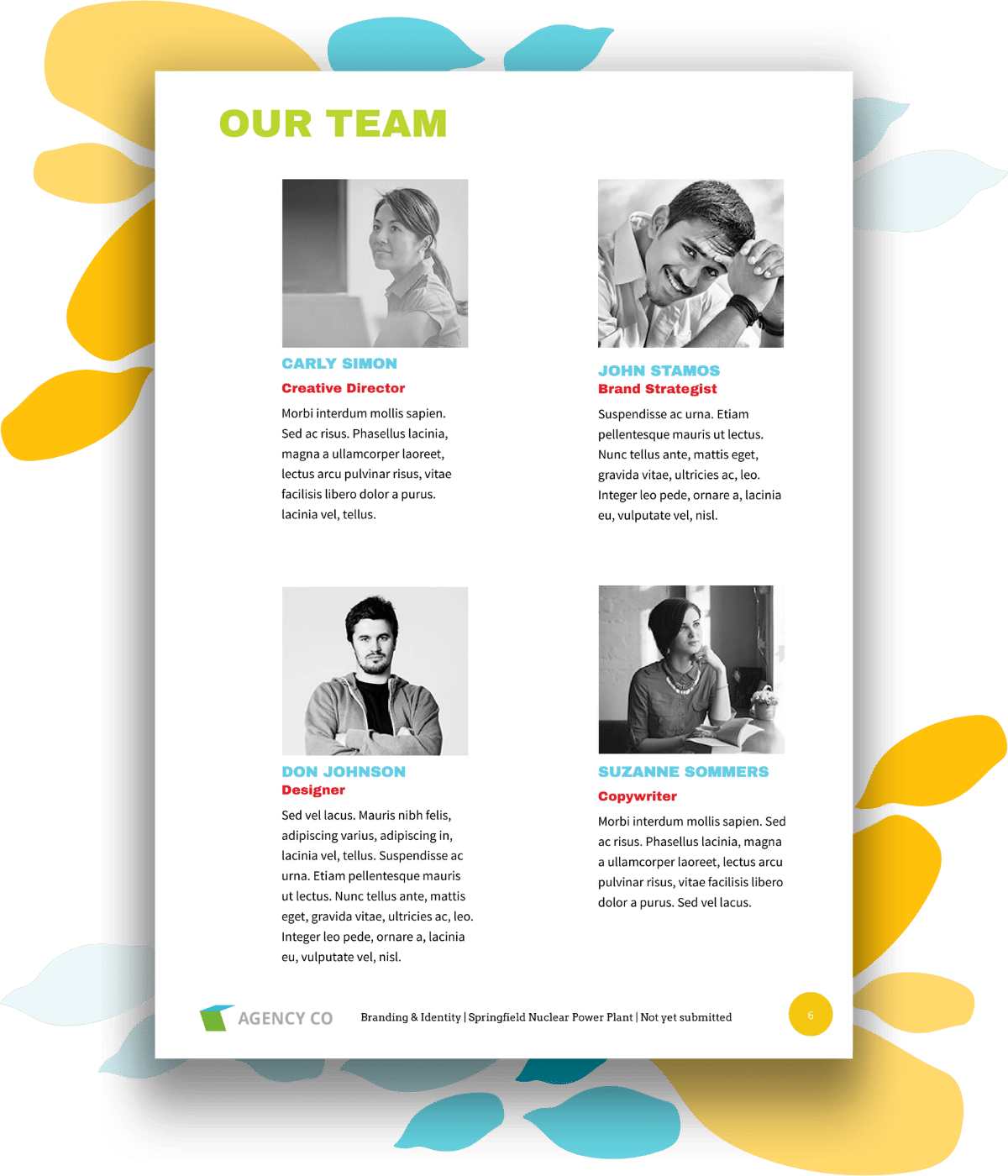 team page for branding proposal template