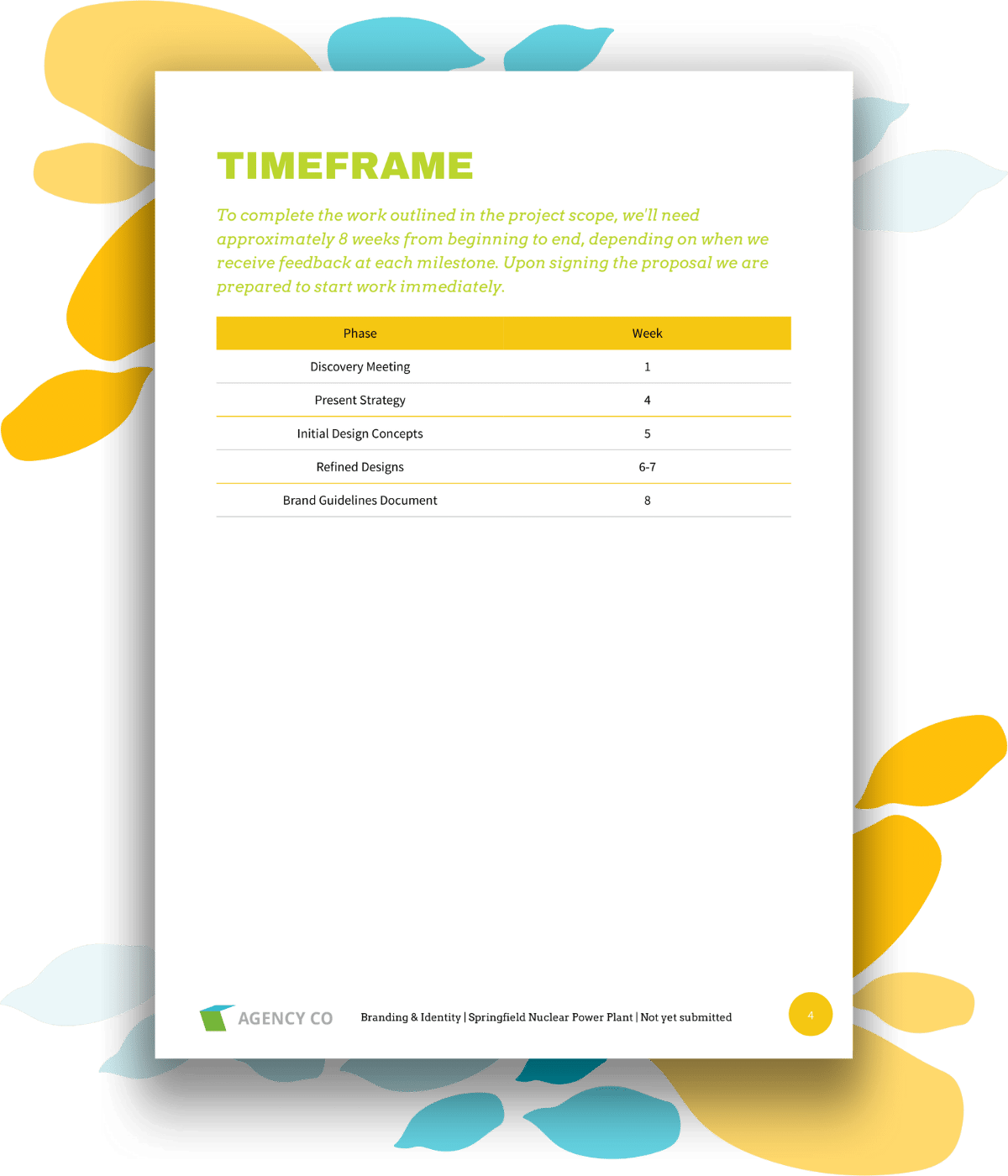 timeframe page for branding project proposal template