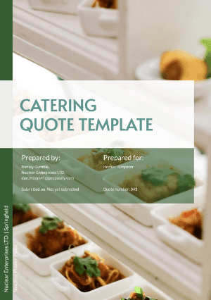 Catering quote template cover