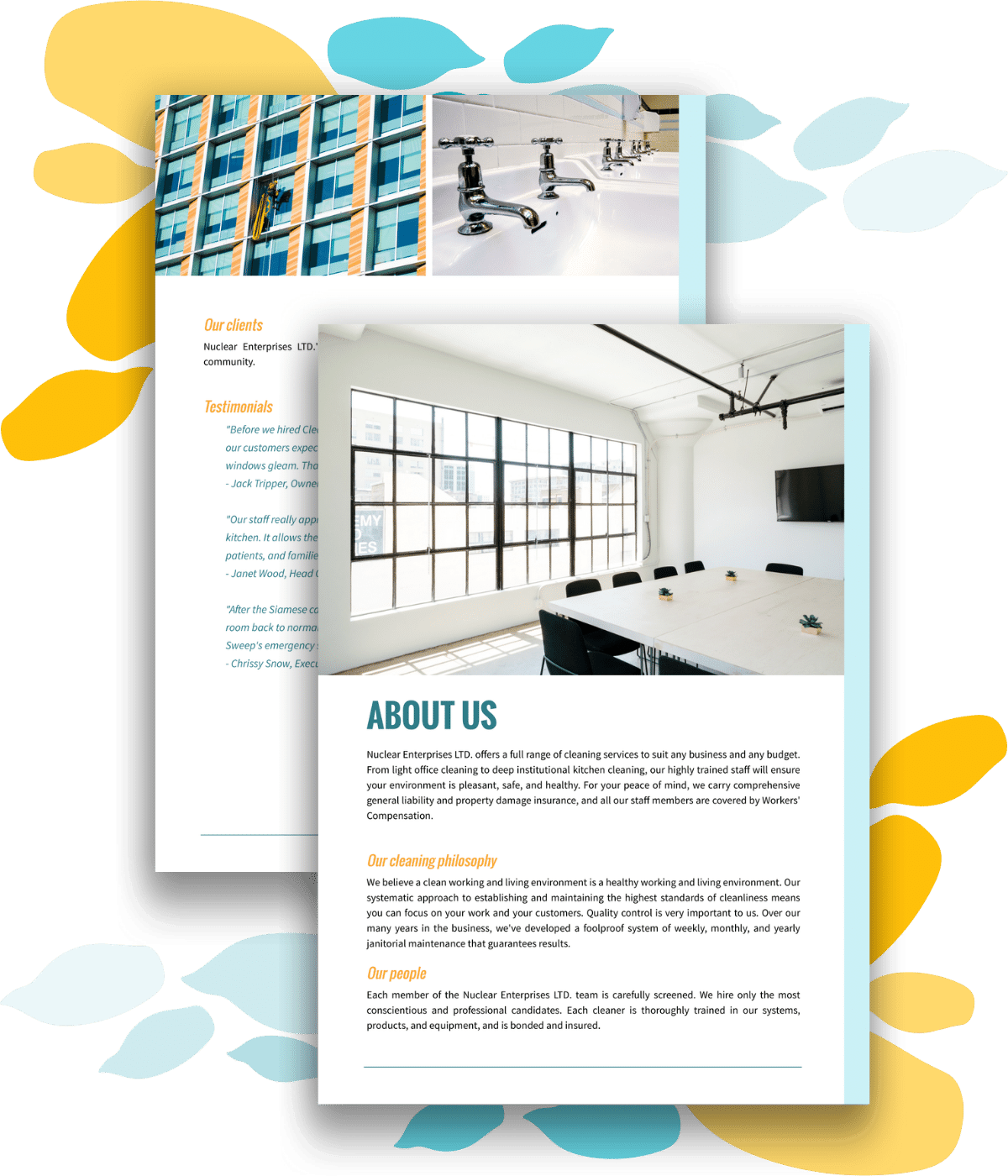 About us section for a free sample cleaning proposal template
