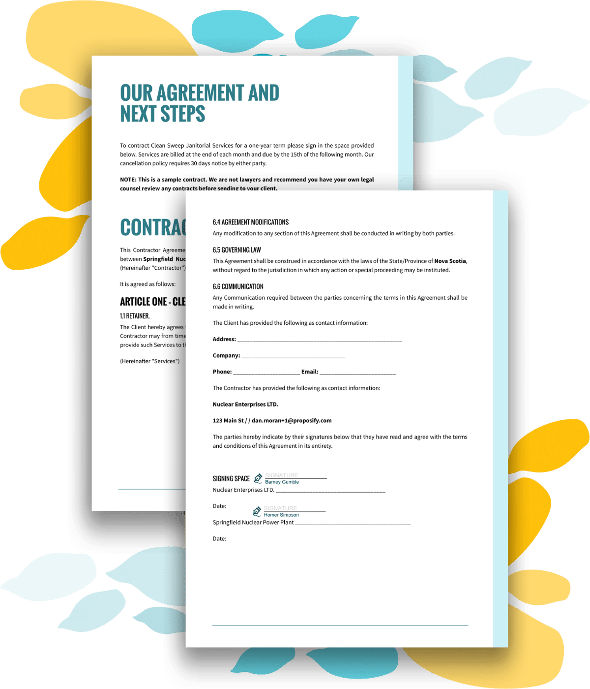 Example contract, next steps, and sign-off section for a cleaning quote