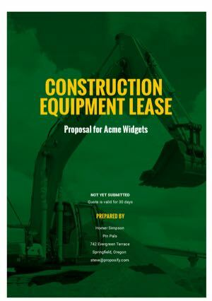 Construction Equipment Proposal Template cover