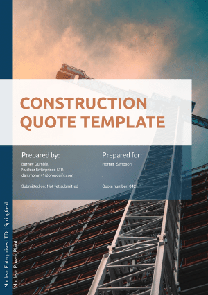 Construction quote template cover