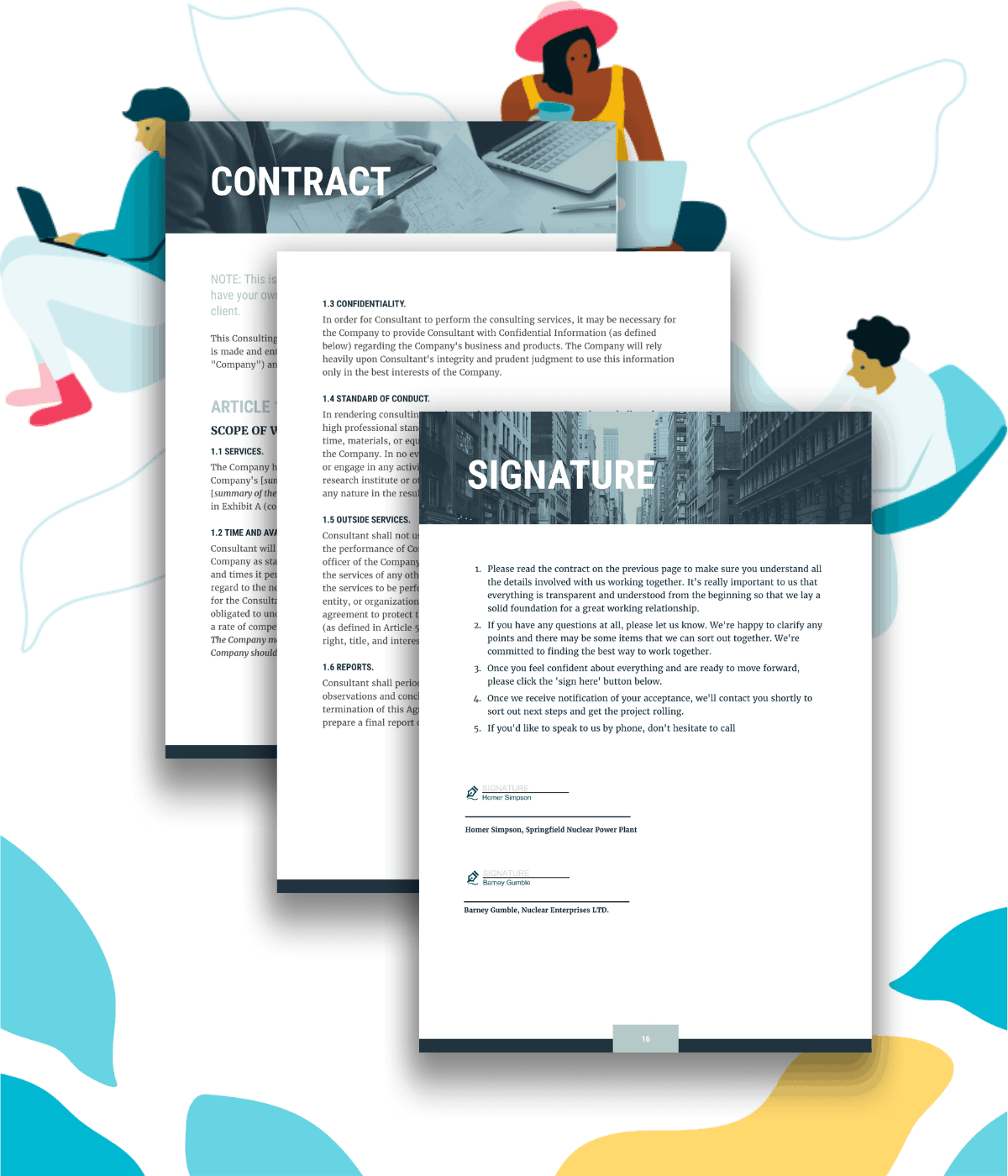 Example contract section and signature page for clients to esign a consulting proposal.