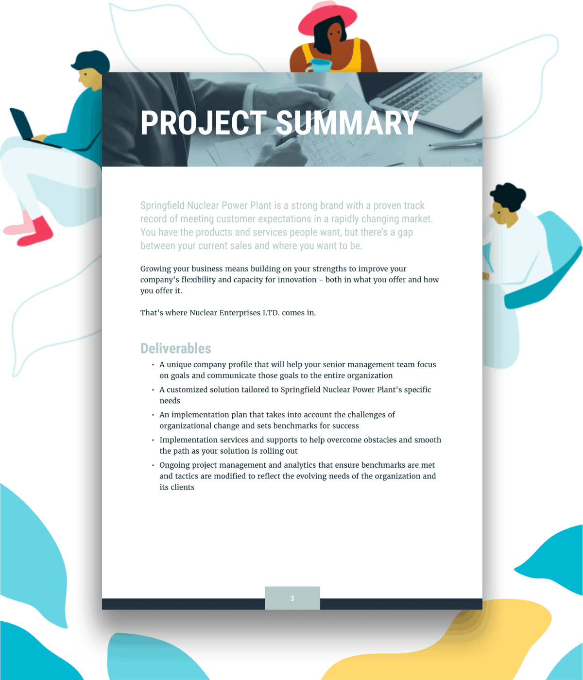 Project summary or project deliverables and timeline section of an example consulting proposal template.