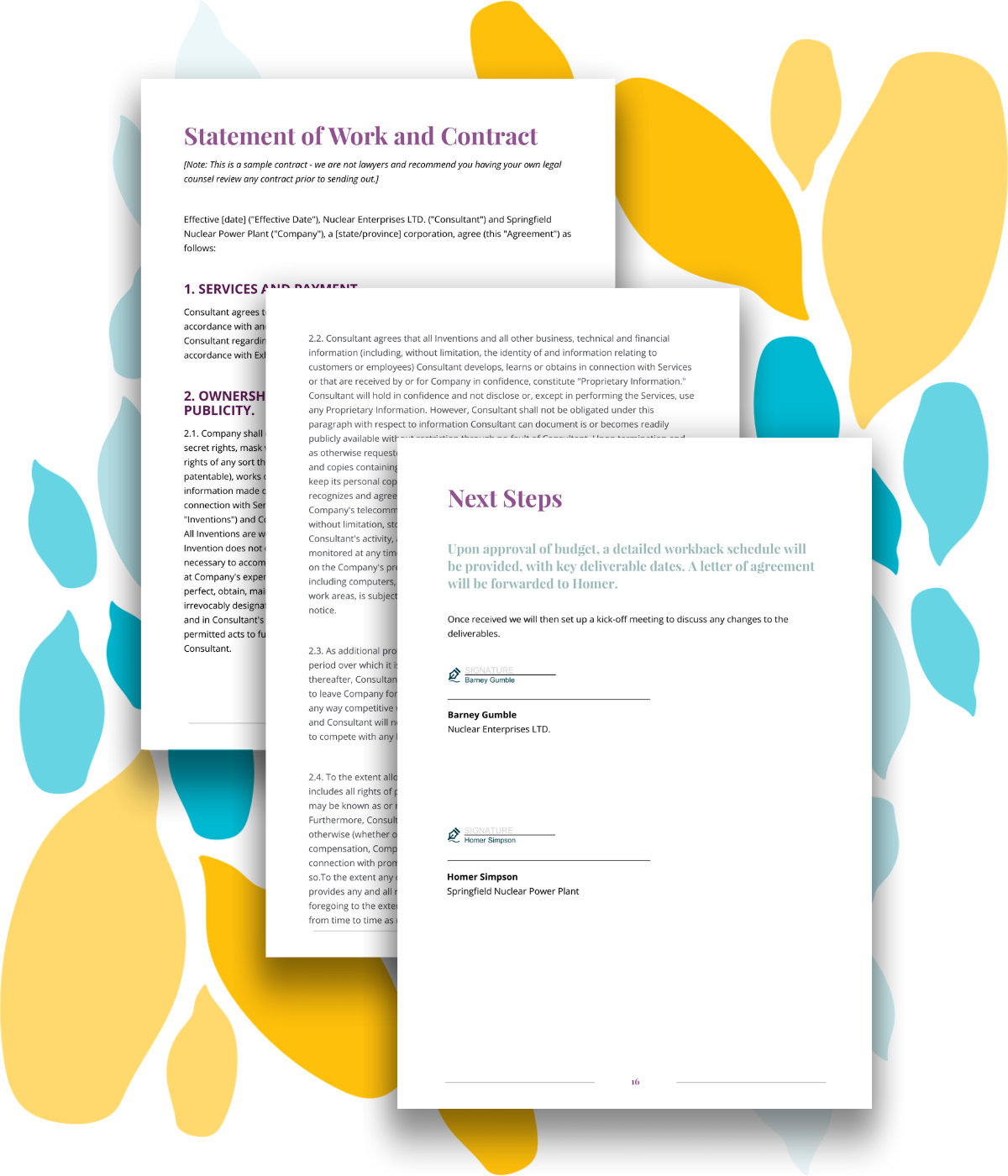 Example statement of work, contract, and signature page for a sample event proposal template.