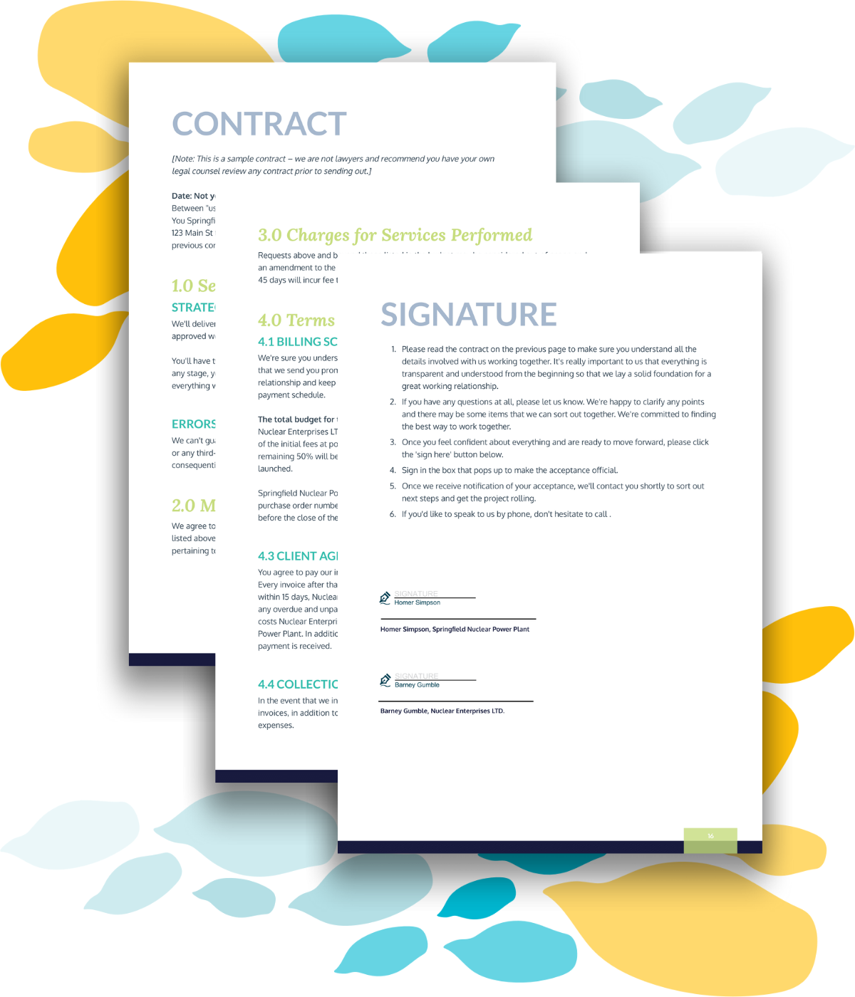 Sample contract and esignature sign-off page for a strategic marketing business proposal.