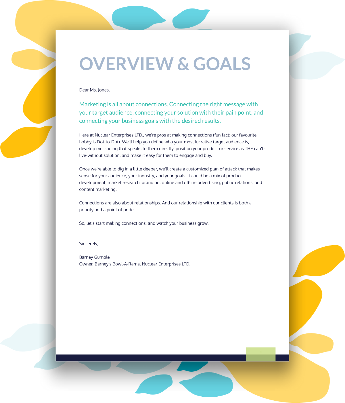 Example executive summary for a marketing proposal template.