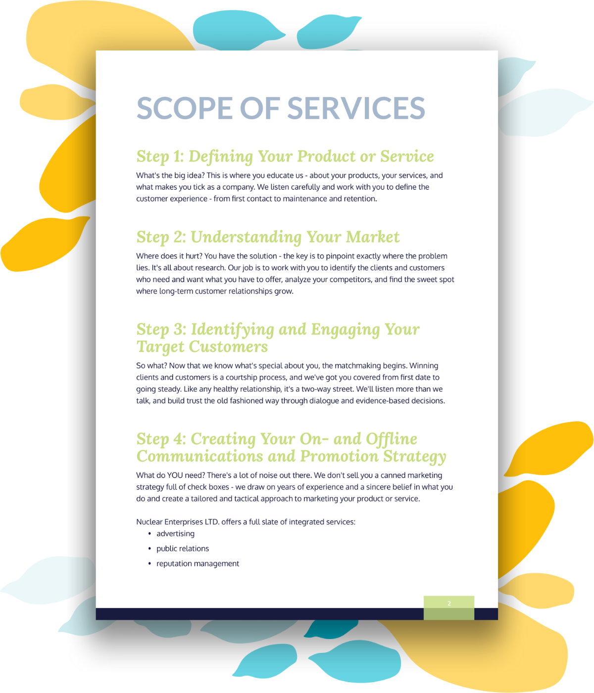 Example scope of services or project deliverables page for a strategic marketing proposal or quote.