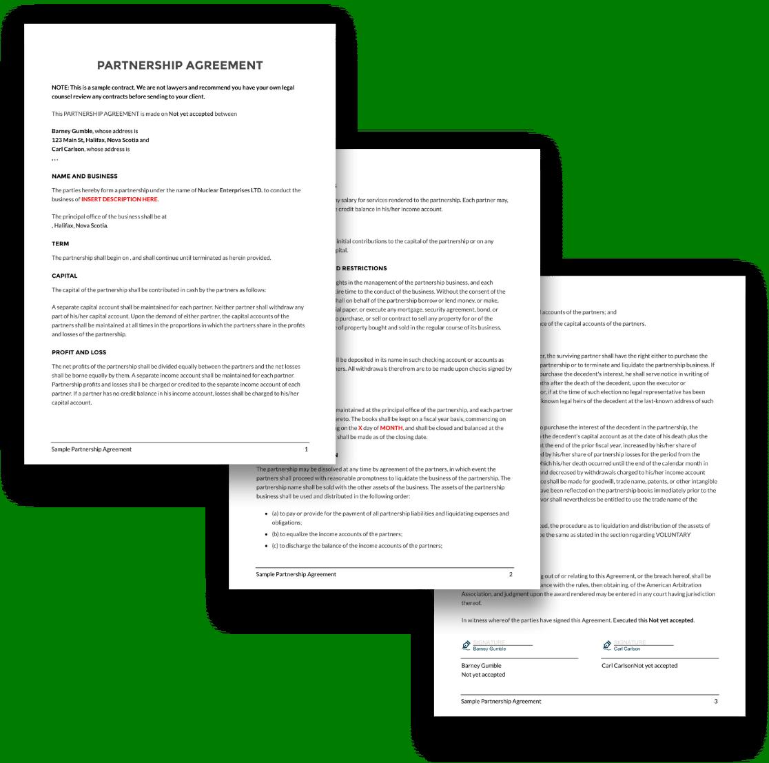 Partnership agreement template spread