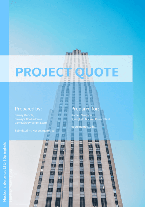 Project quote template cover