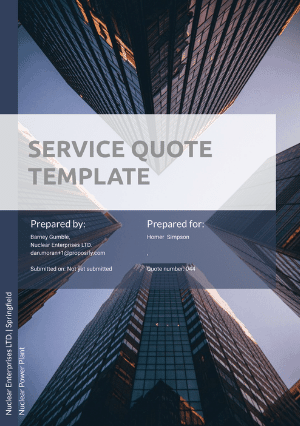 Service quote template cover