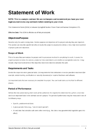 Statement of work template cover