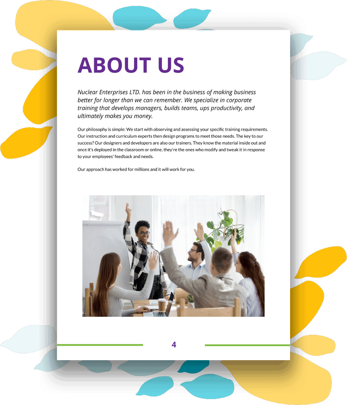 Training proposal template about us page