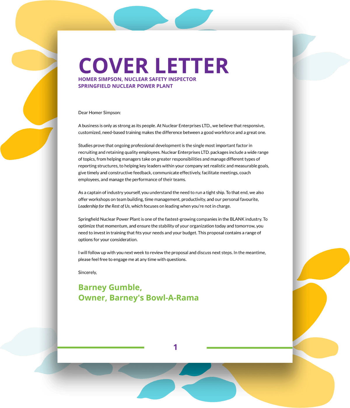 Training proposal template cover letter
