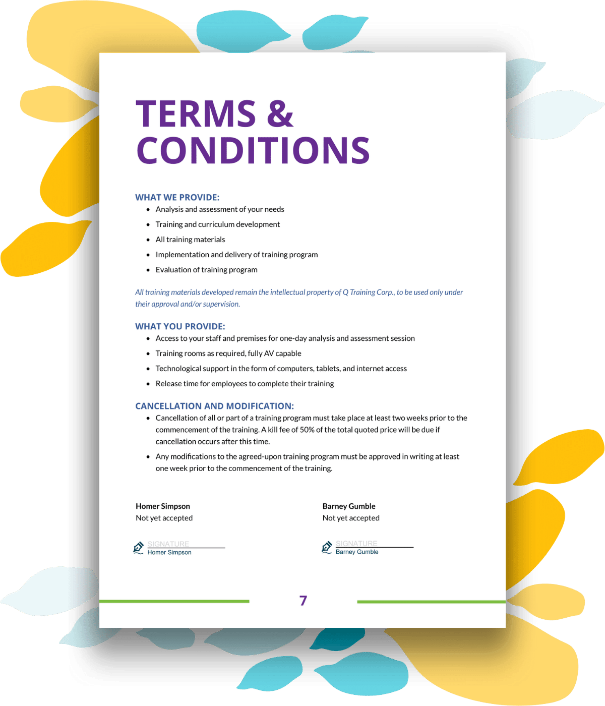 Training proposal template terms & conditions and sign off page