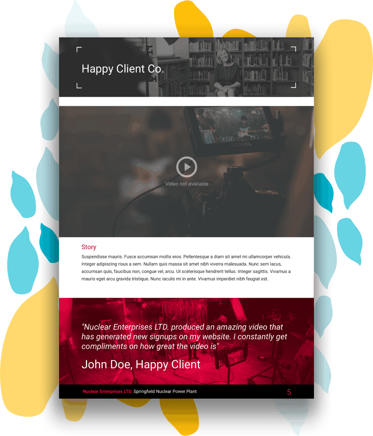 Sample case study page for a video production proposal template.