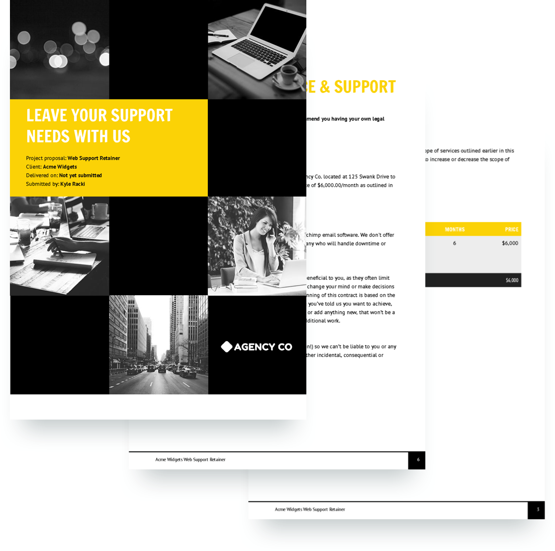 free web support retainer proposal template