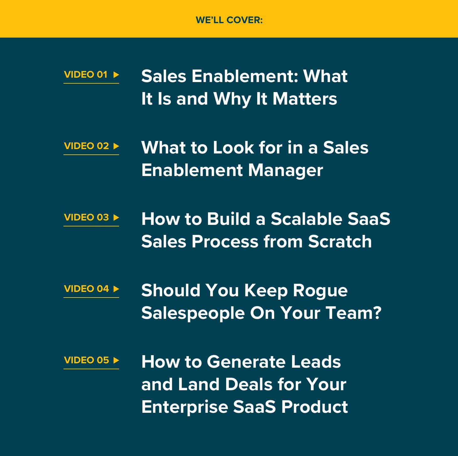 saas sales video series contents