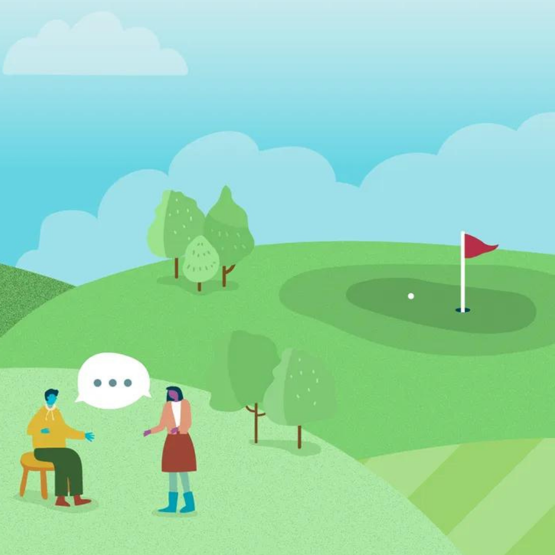Sales reps discussing sales tips on a golf course
