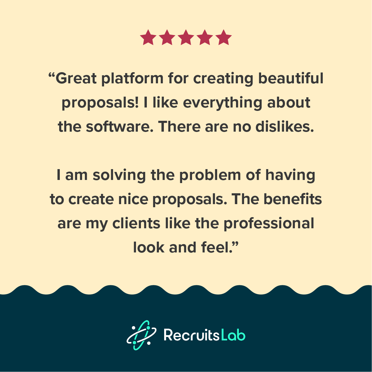 a testimonial about proposify from recruitslab